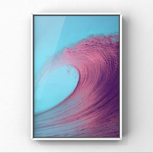Blue pink high tide ocean wave high art print